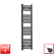 300mm Wide 1200mm High Flat Black Pre-Filled Electric Heated Towel Rail Radiator HTR,DIGI Thermostatic