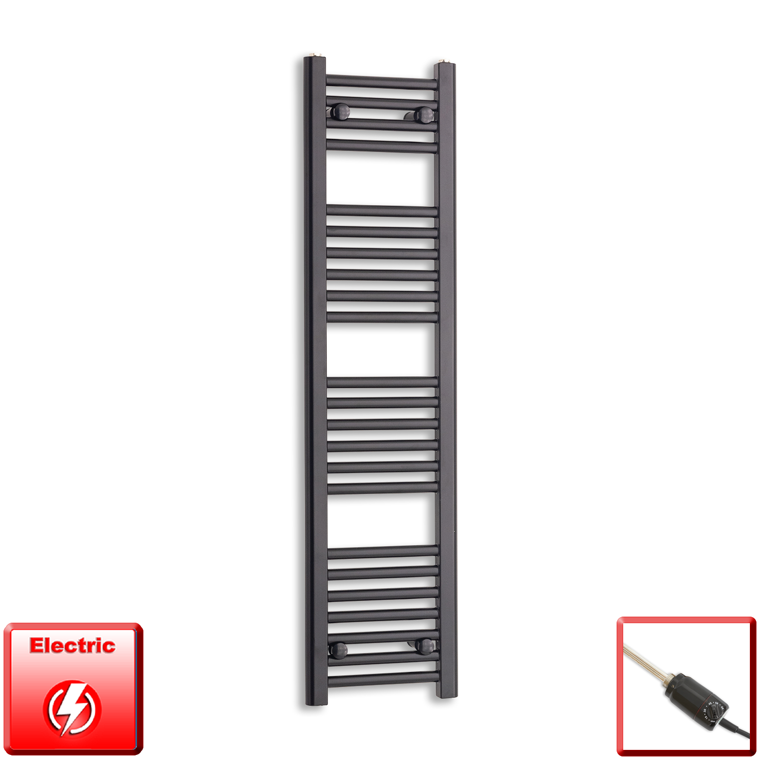 300mm Wide 1200mm High Flat Black Pre-Filled Electric Heated Towel Rail Radiator HTR,GT Thermostatic