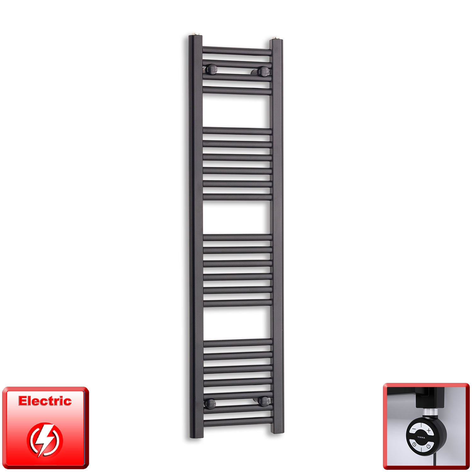 300mm Wide 1200mm High Flat Black Pre-Filled Electric Heated Towel Rail Radiator HTR,MOA Thermostatic Element
