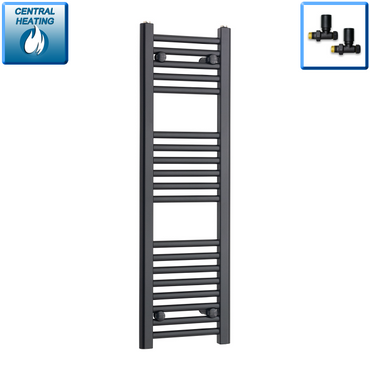 300mm Wide 1200mm High Flat Black Heated Towel Rail Radiator,With Straight Valve