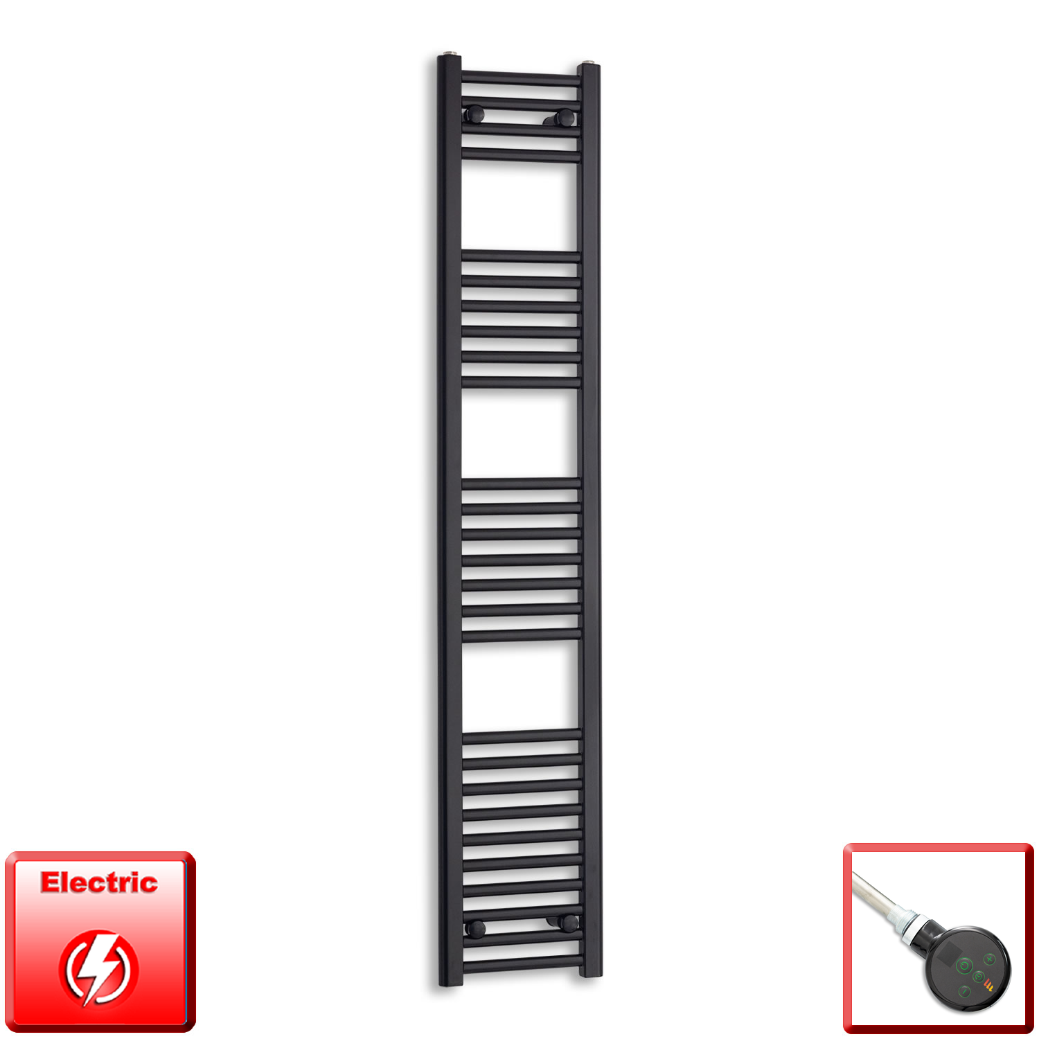 300mm Wide 1600mm High Flat Black Pre-Filled Electric Heated Towel Rail Radiator HTR,DIGI Thermostatic