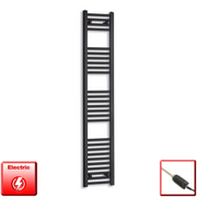300mm Wide 1600mm High Flat Black Pre-Filled Electric Heated Towel Rail Radiator HTR,GT Thermostatic