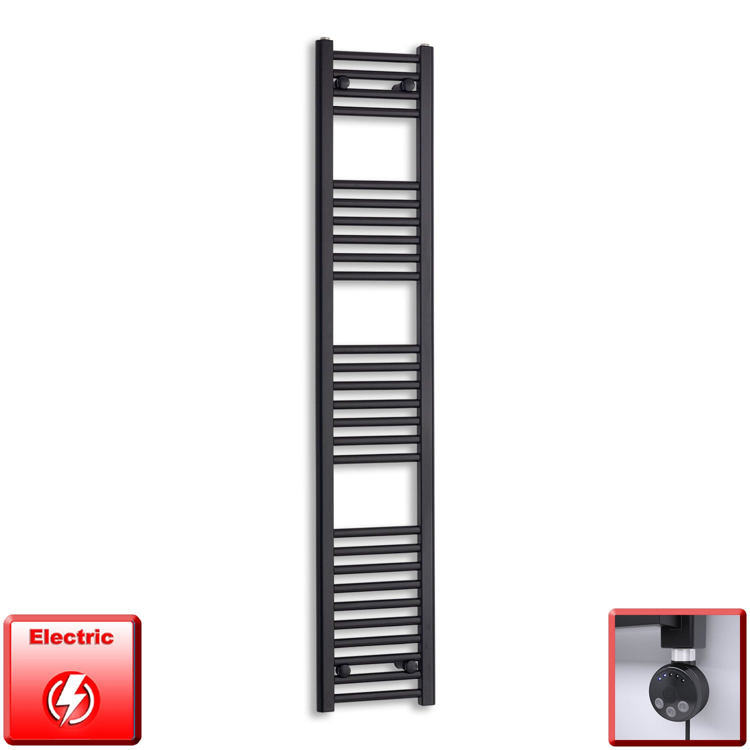300mm Wide 1600mm High Flat Black Pre-Filled Electric Heated Towel Rail Radiator HTR,MEG Thermostatic Element