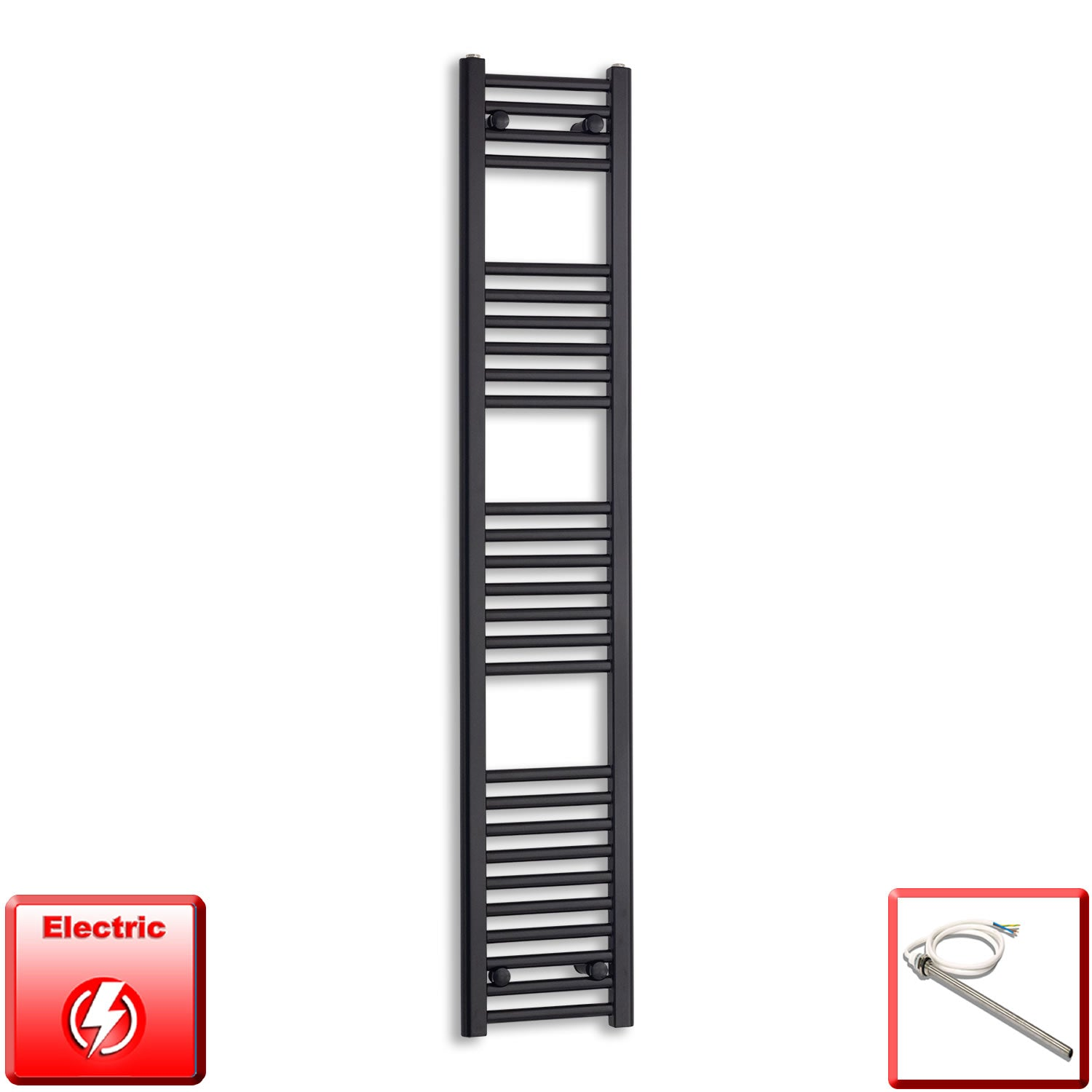 300mm Wide 1600mm High Flat Black Pre-Filled Electric Heated Towel Rail Radiator HTR,Single Heat Element