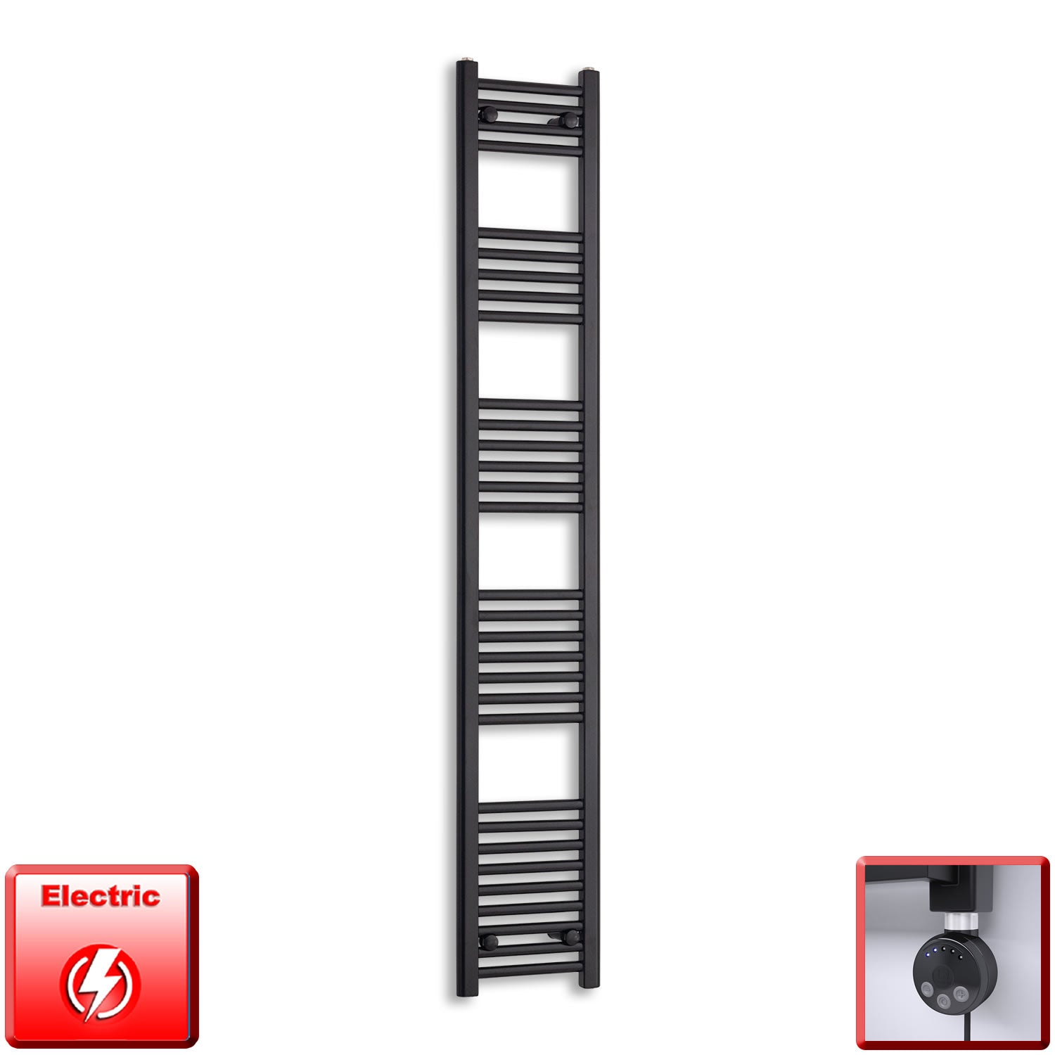 300mm Wide 1800mm High Flat Black Pre-Filled Electric Heated Towel Rail Radiator HTR,MEG Thermostatic Element