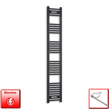 300mm Wide 1800mm High Flat Black Pre-Filled Electric Heated Towel Rail Radiator HTR,Single Heat Element