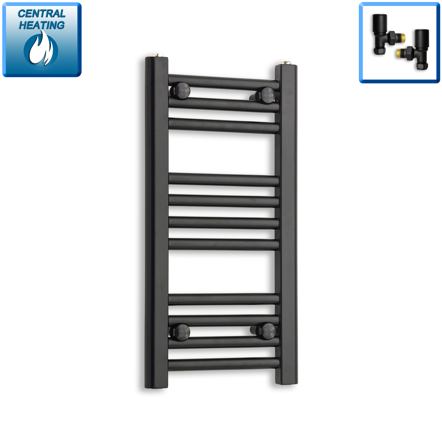 300mm Wide 600mm High Flat Black Heated Towel Rail Radiator,With Angled Valve