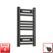 300mm Wide 600mm High Flat Black Pre-Filled Electric Heated Towel Rail Radiator HTR,DIGI Thermostatic