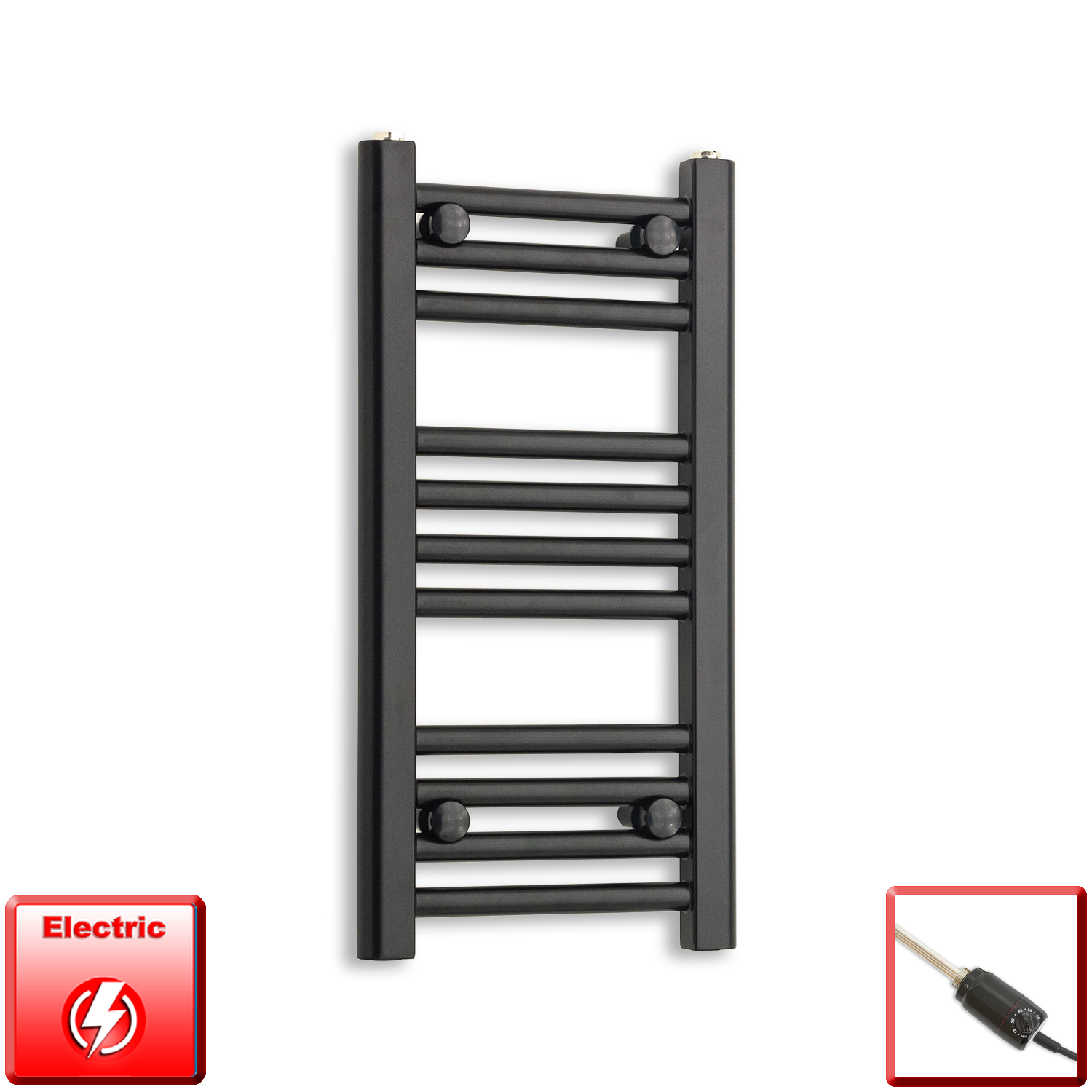 300mm Wide 600mm High Flat Black Pre-Filled Electric Heated Towel Rail Radiator HTR,GT Thermostatic