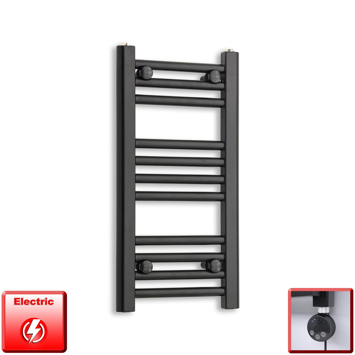 300mm Wide 600mm High Flat Black Pre-Filled Electric Heated Towel Rail Radiator HTR,MEG Thermostatic Element