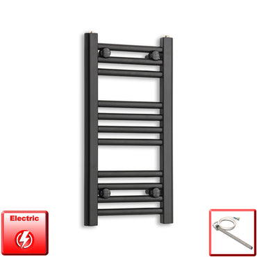 300mm Wide 600mm High Flat Black Pre-Filled Electric Heated Towel Rail Radiator HTR,Single Heat Element