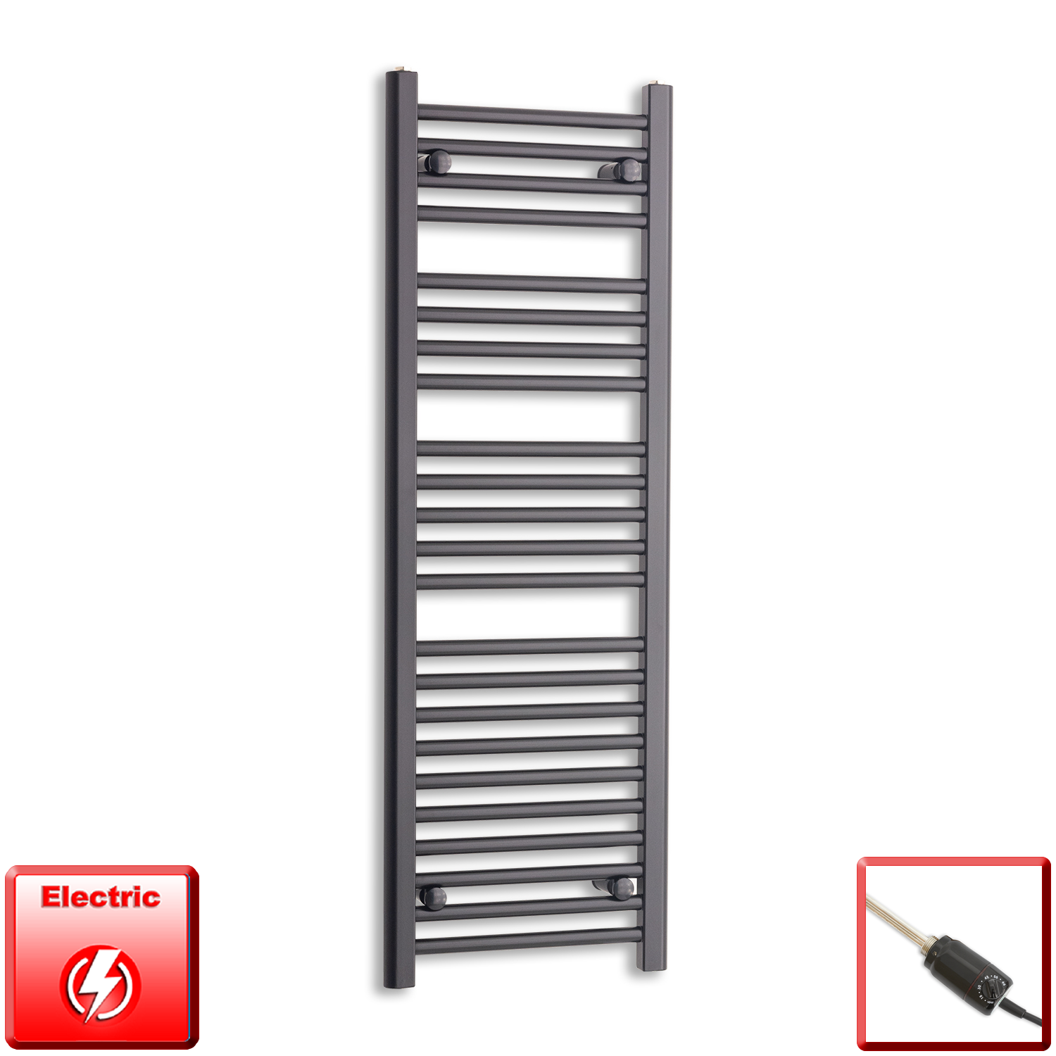 400mm Wide 1200mm High Flat Black Pre-Filled Electric Heated Towel Rail Radiator HTR,GT Thermostatic