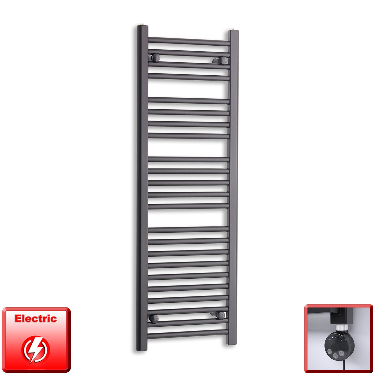 400mm Wide 1200mm High Flat Black Pre-Filled Electric Heated Towel Rail Radiator HTR,MEG Thermostatic Element
