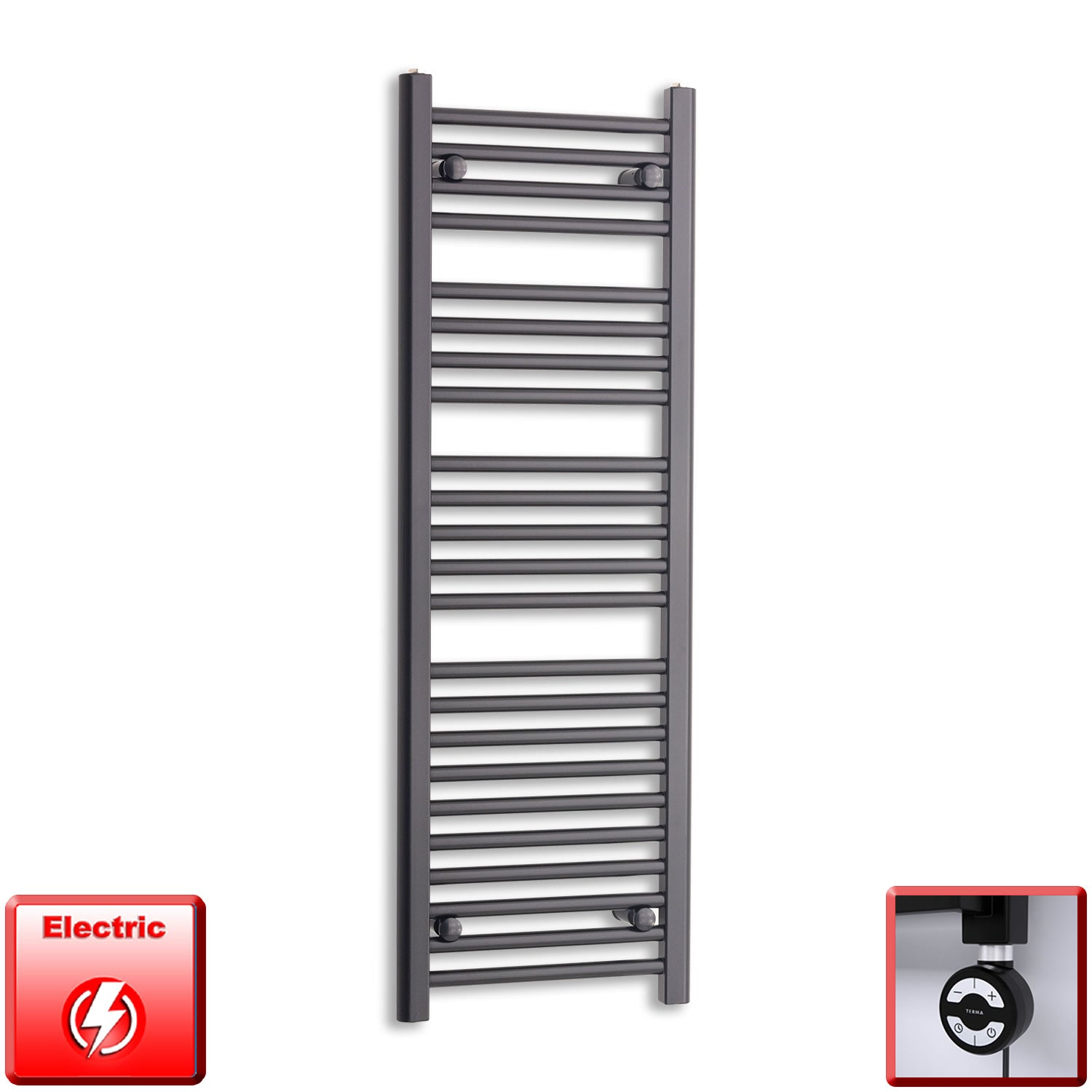 400mm Wide 1200mm High Flat Black Pre-Filled Electric Heated Towel Rail Radiator HTR,MOA Thermostatic Element