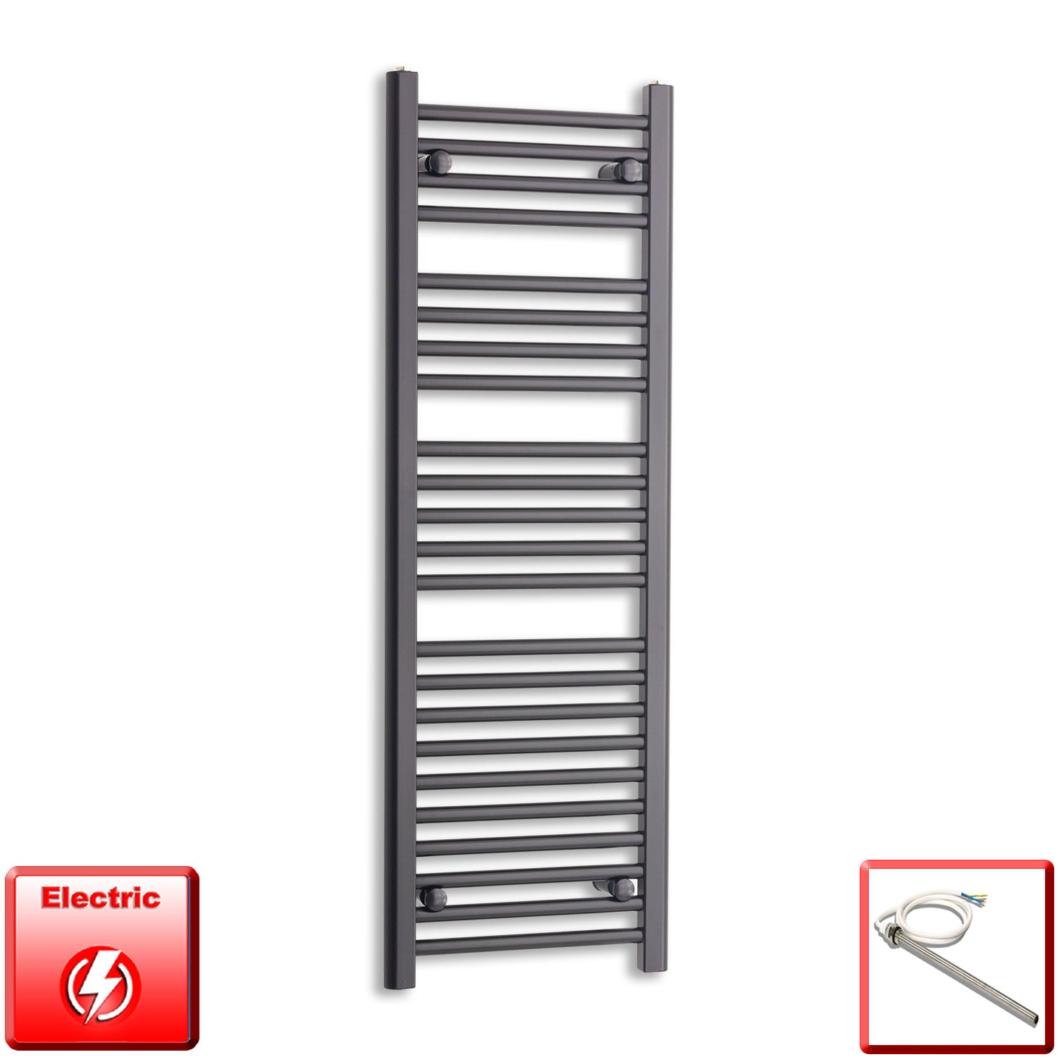 400mm Wide 1200mm High Flat Black Pre-Filled Electric Heated Towel Rail Radiator HTR,Single Heat Element