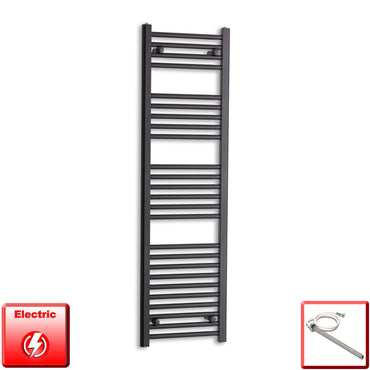 400mm Wide 1400mm High Flat Black Pre-Filled Electric Heated Towel Rail Radiator HTR,Single Heat Element