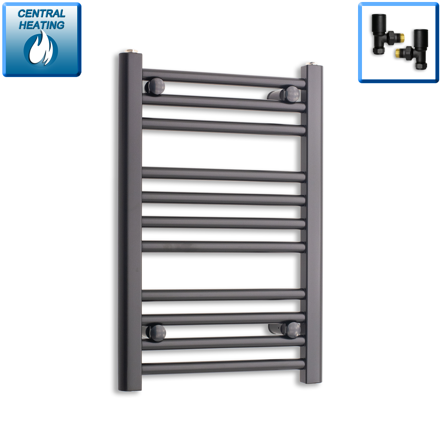 400mm Wide 600mm High Flat Black Heated Towel Rail Radiator,With Angled Valve