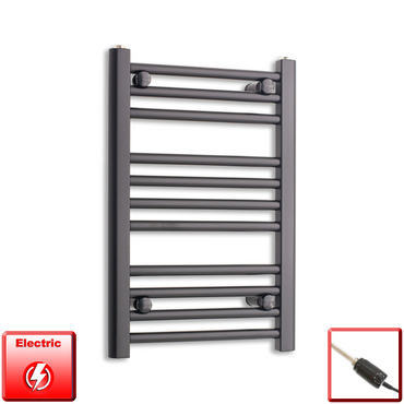 400mm Wide 600mm High Flat Black Pre-Filled Electric Heated Towel Rail Radiator HTR,GT Thermostatic