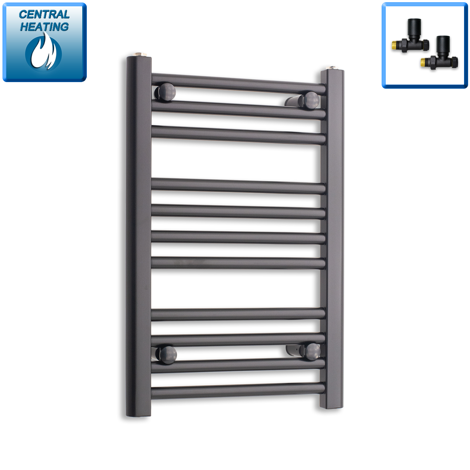 400mm Wide 600mm High Flat Black Heated Towel Rail Radiator,With Straight Valve