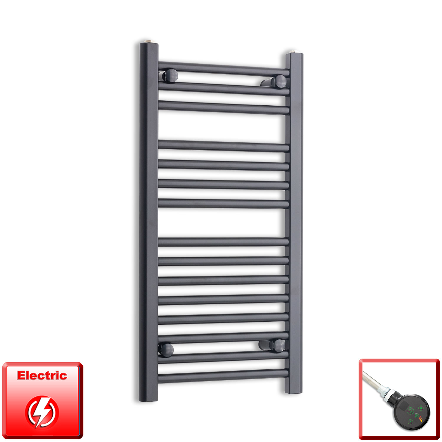 400mm Wide 800mm High Flat Black Pre-Filled Electric Heated Towel Rail Radiator HTR,DIGI Thermostatic