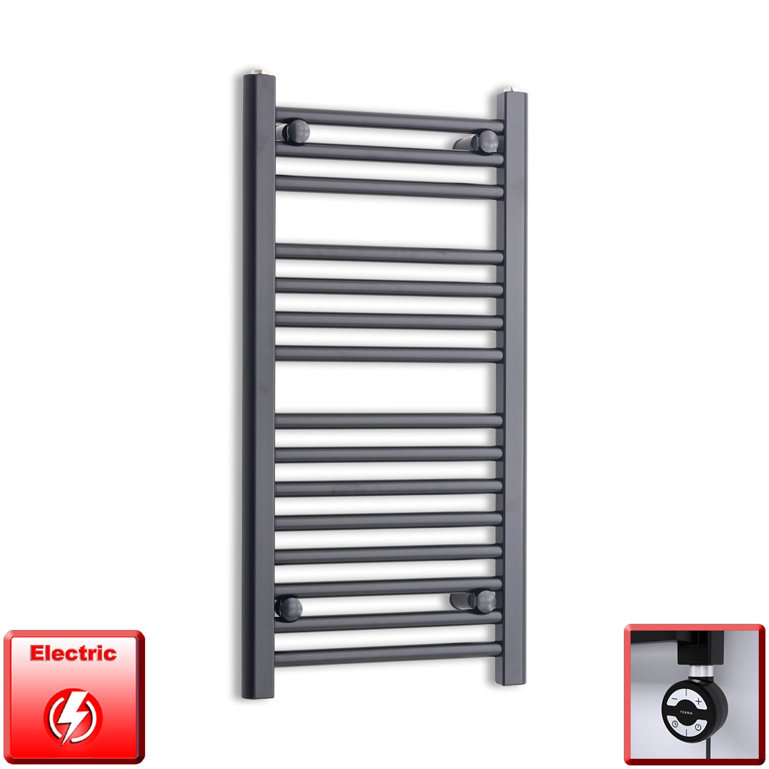 400mm Wide 800mm High Flat Black Pre-Filled Electric Heated Towel Rail Radiator HTR,MOA Thermostatic Element