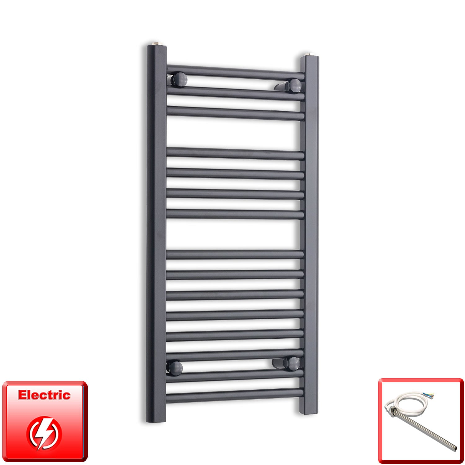 400mm Wide 800mm High Flat Black Pre-Filled Electric Heated Towel Rail Radiator HTR,Single Heat Element
