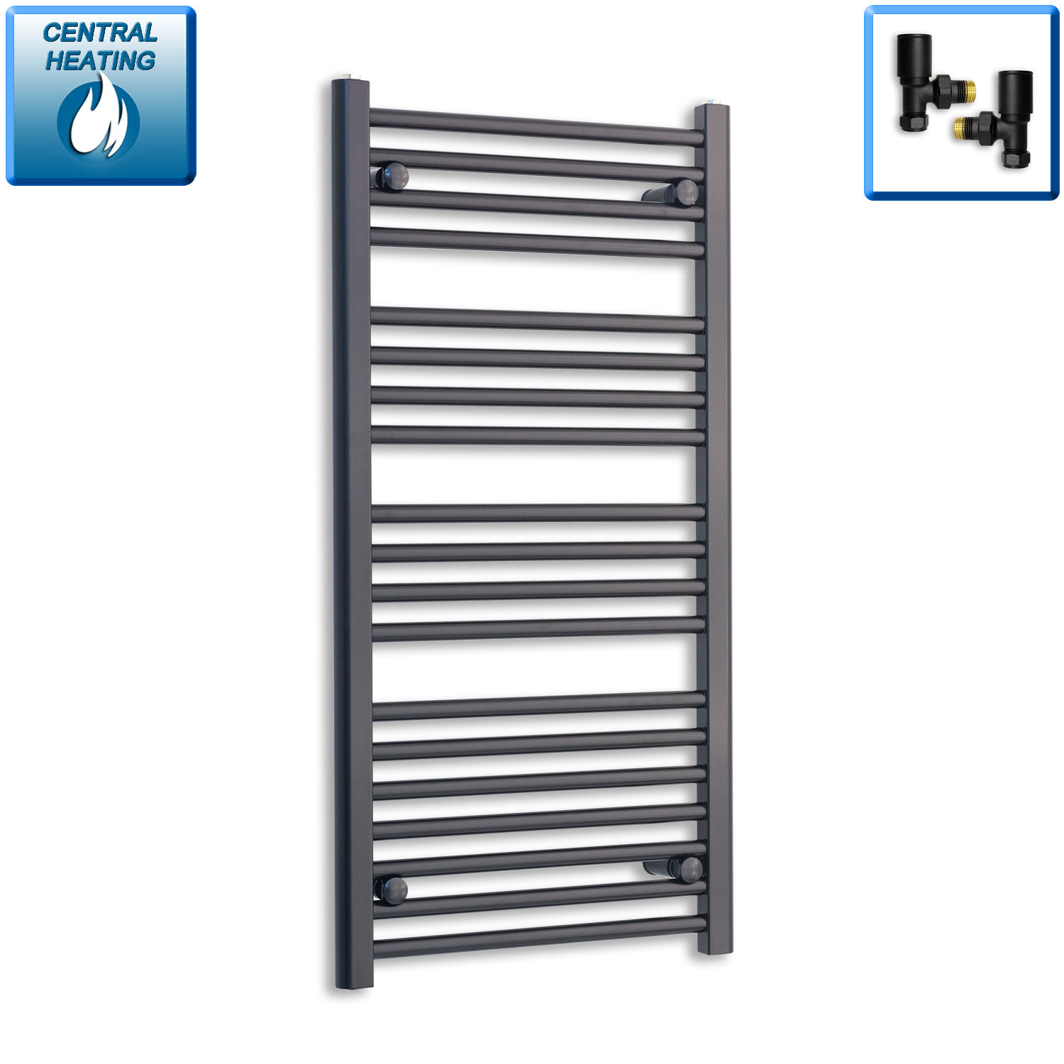 600mm Wide 800mm High Flat Black Heated Towel Rail Radiator HTR,With Straight Valve