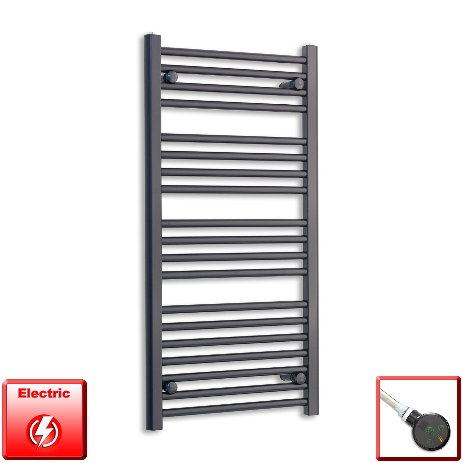 600mm Wide 1000mm High Flat Black Pre-Filled Electric Heated Towel Rail Radiator HTR,DIGI Thermostatic