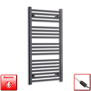 600mm Wide 1000mm High Flat Black Pre-Filled Electric Heated Towel Rail Radiator HTR,GT Thermostatic