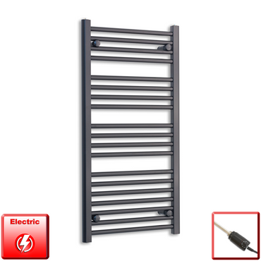 500mm Wide 1000mm High Flat Black Pre-Filled Electric Heated Towel Rail Radiator HTR,GT Thermostatic