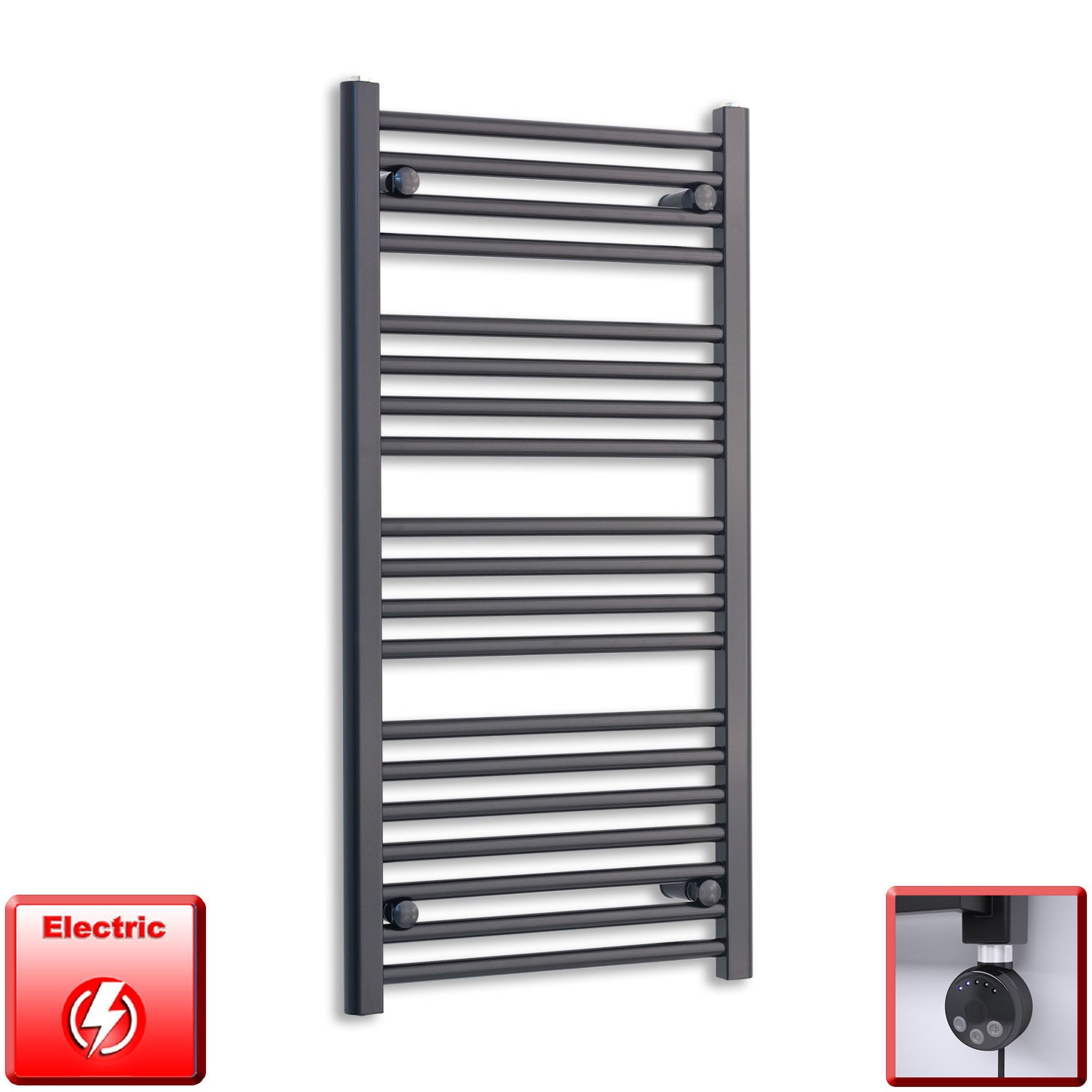 600mm Wide 1000mm High Flat Black Pre-Filled Electric Heated Towel Rail Radiator HTR,MEG Thermostatic Element