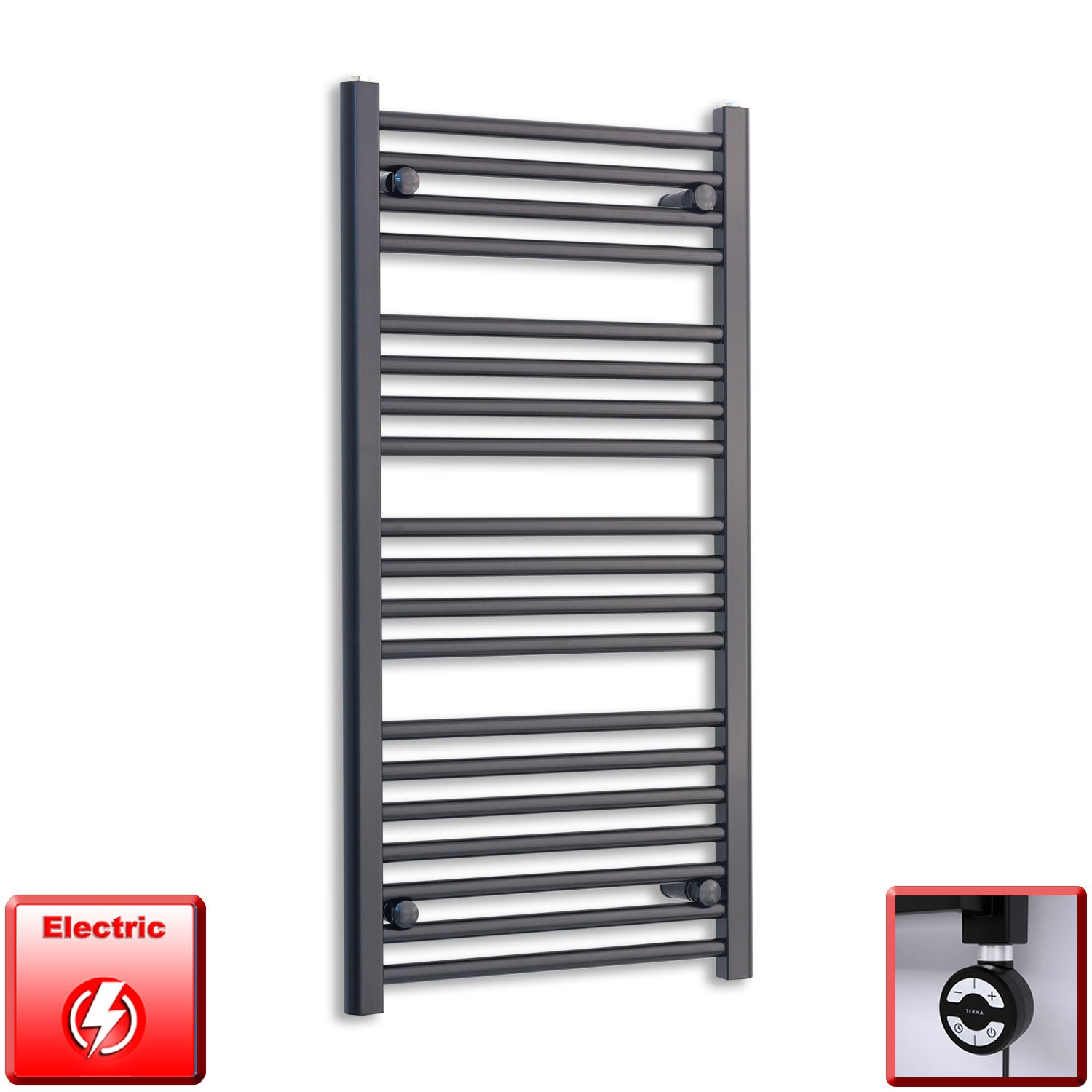 600mm Wide 1000mm High Flat Black Pre-Filled Electric Heated Towel Rail Radiator HTR,MOA Thermostatic Element