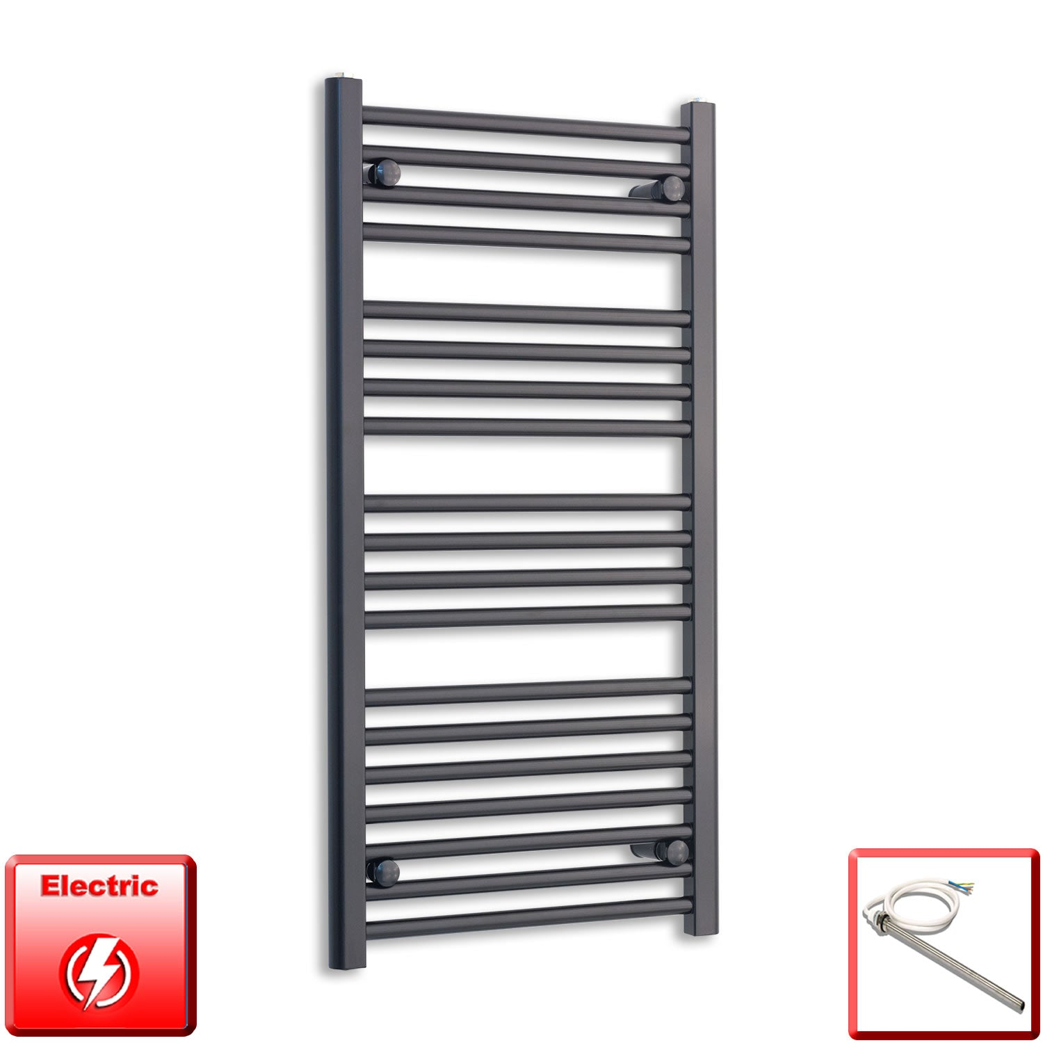 600mm Wide 1000mm High Flat Black Pre-Filled Electric Heated Towel Rail Radiator HTR,Single Heat Element