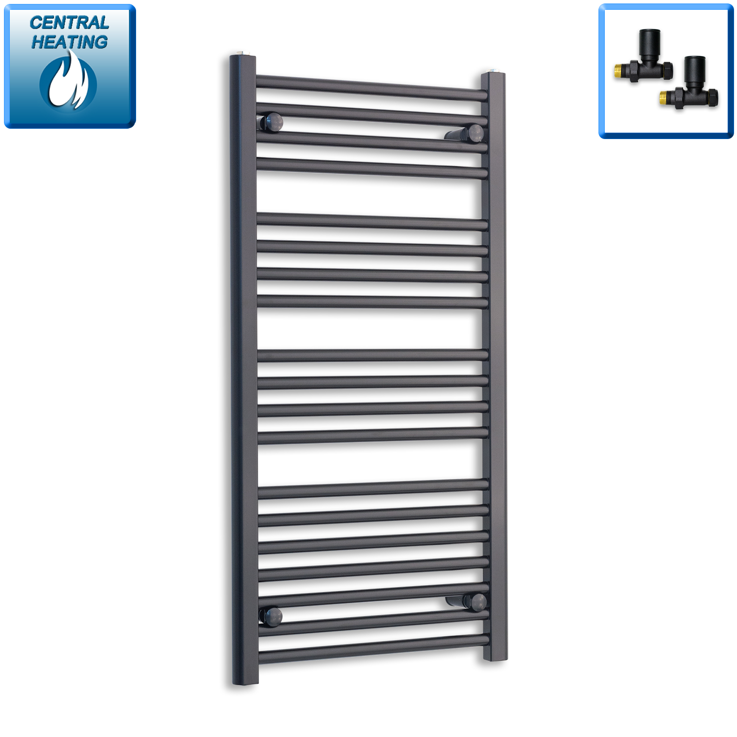 600mm Wide 800mm High Flat Black Heated Towel Rail Radiator HTR,With Angled Valve
