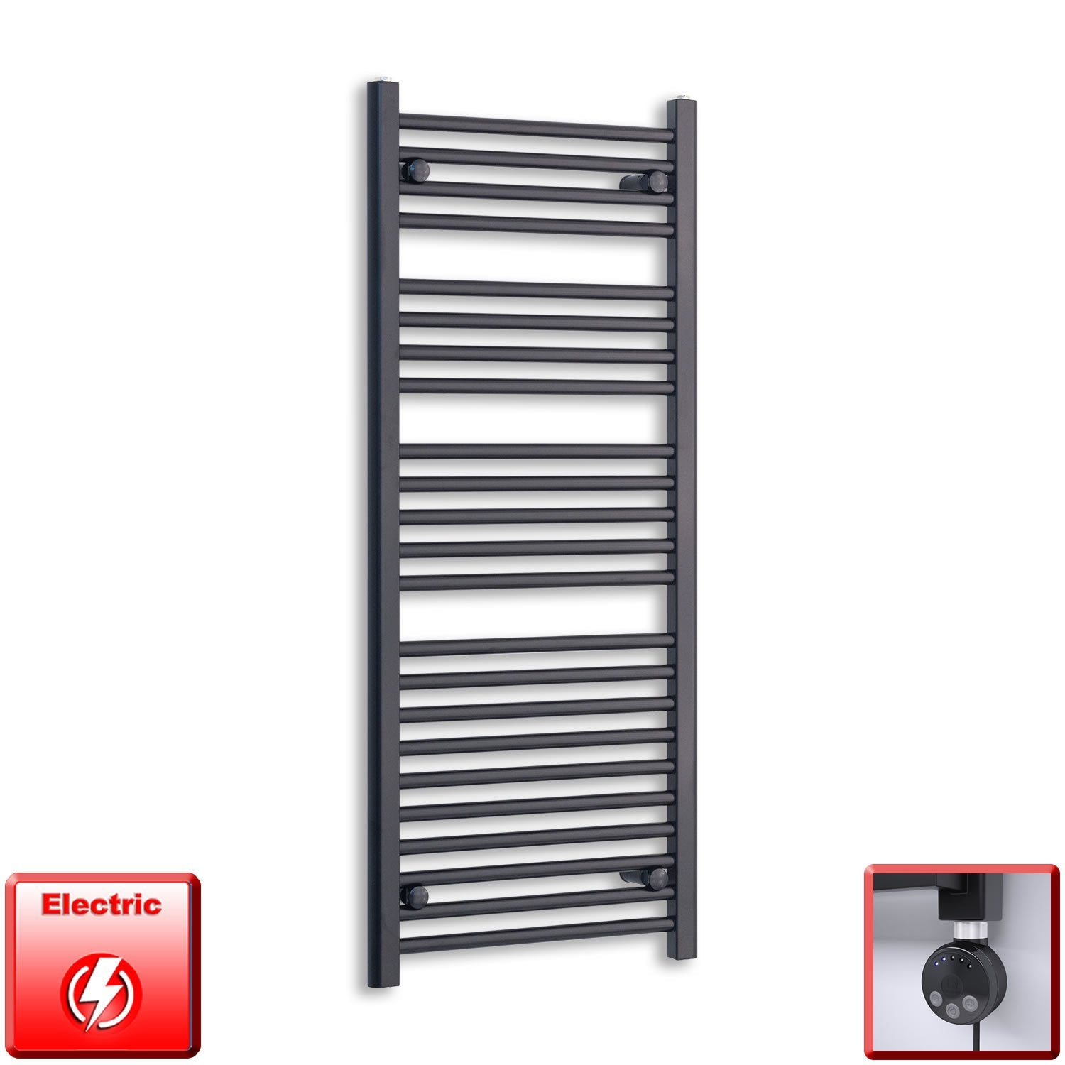 600mm Wide 1200mm High Flat Black Pre-Filled Electric Heated Towel Rail Radiator HTR,MEG Thermostatic Element