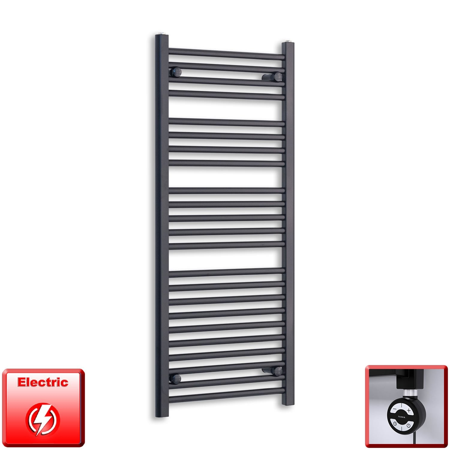 600mm Wide 1200mm High Flat Black Pre-Filled Electric Heated Towel Rail Radiator HTR,MOA Thermostatic Element