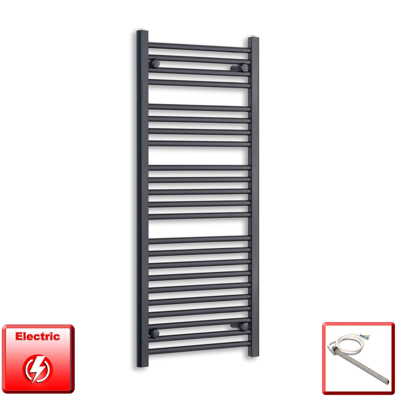 600mm Wide 1200mm High Flat Black Pre-Filled Electric Heated Towel Rail Radiator HTR,Single Heat Element