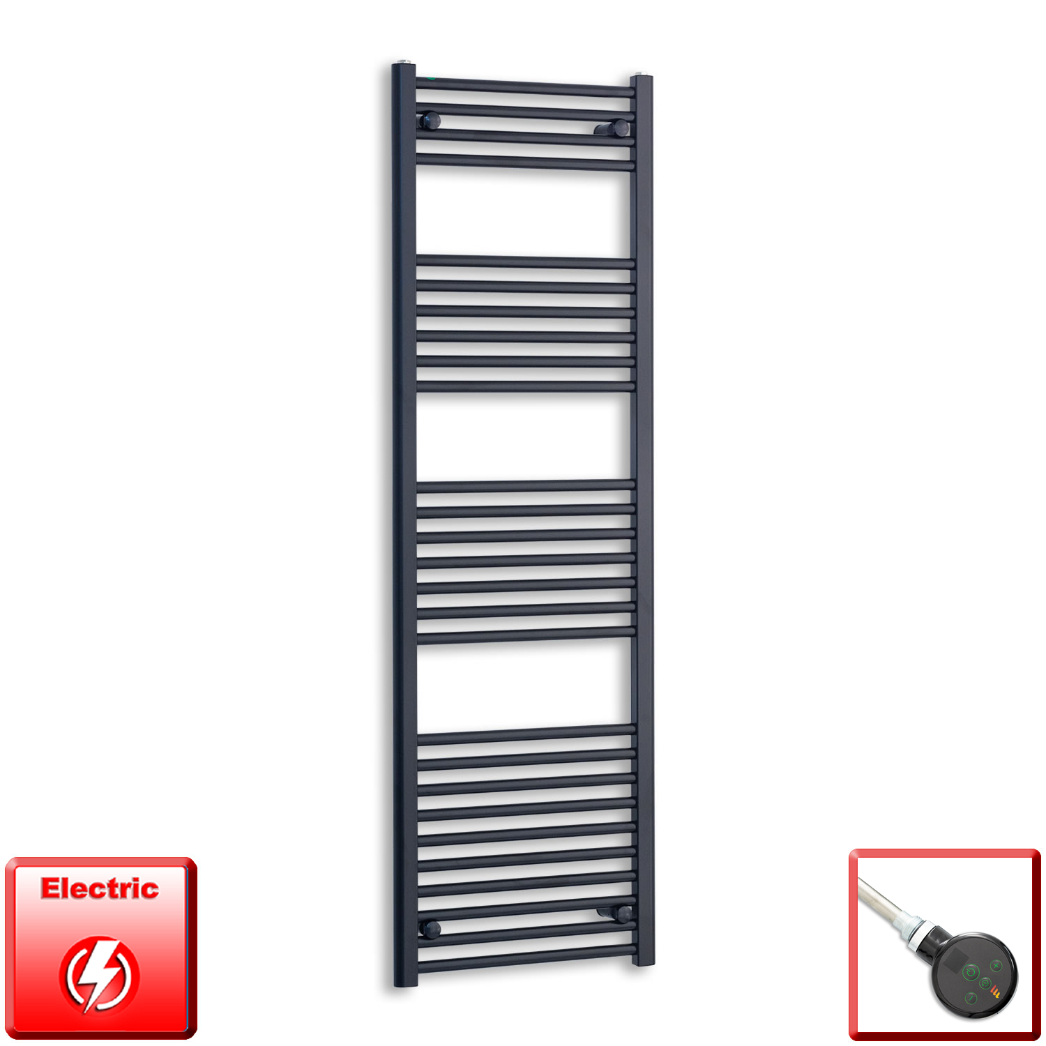 500mm Wide 1600mm High Flat Black Pre-Filled Electric Heated Towel Rail Radiator HTR,DIGI Thermostatic