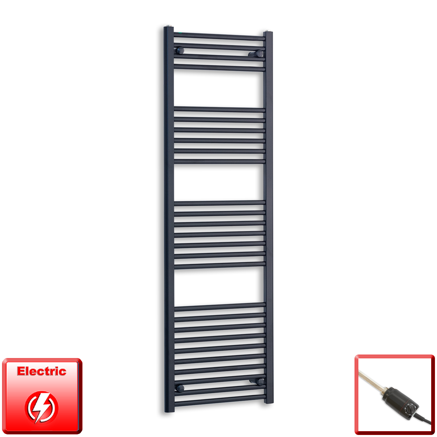 500mm Wide 1600mm High Flat Black Pre-Filled Electric Heated Towel Rail Radiator HTR,GT Thermostatic
