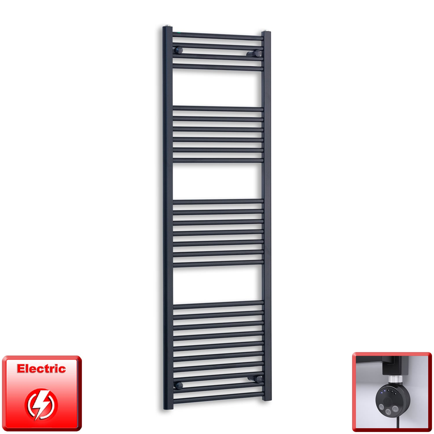 500mm Wide 1600mm High Flat Black Pre-Filled Electric Heated Towel Rail Radiator HTR,MEG Thermostatic Element