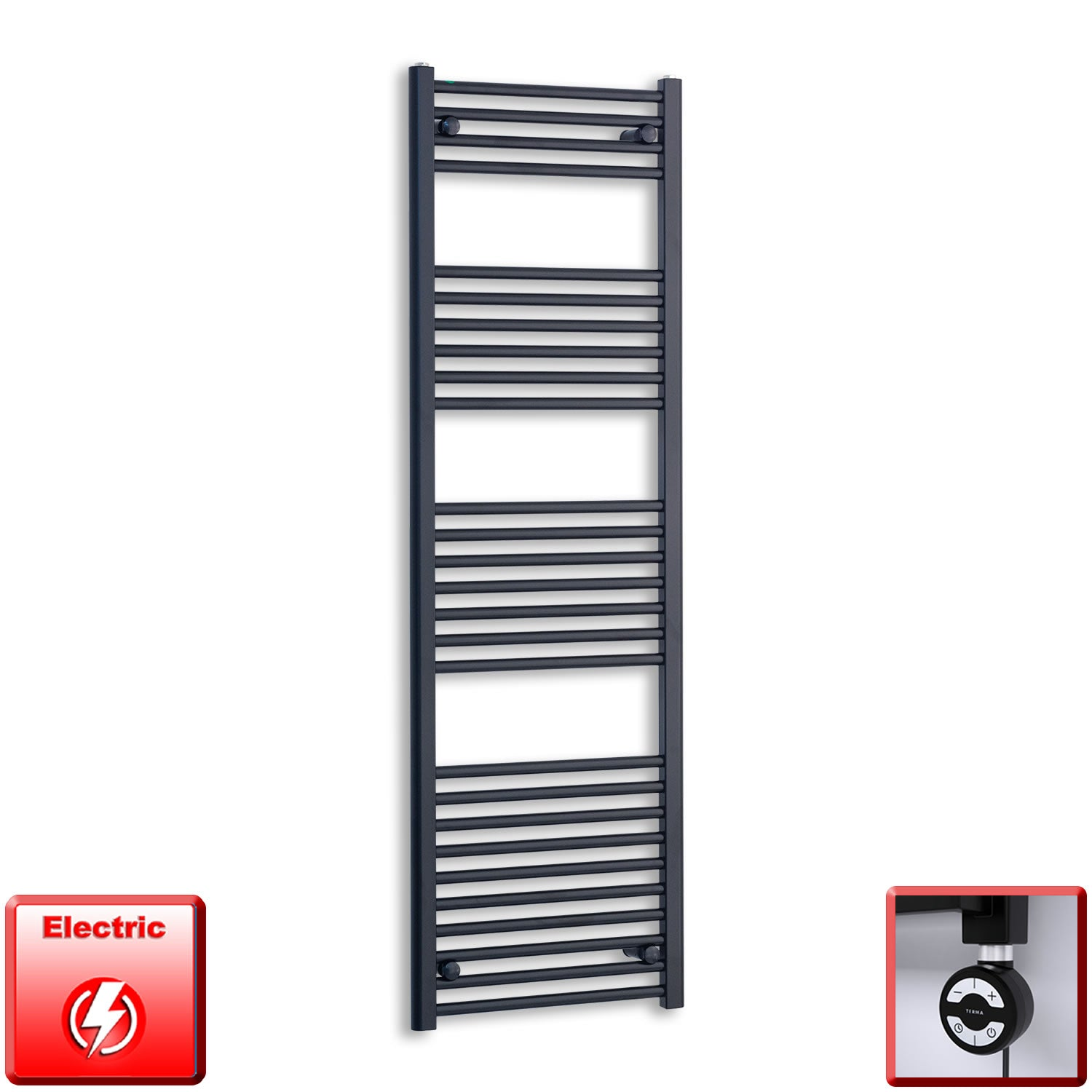 500mm Wide 1600mm High Flat Black Pre-Filled Electric Heated Towel Rail Radiator HTR,MOA Thermostatic Element