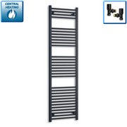 600mm Wide 1800mm High Flat Black Heated Towel Rail Radiator,With Straight Valve