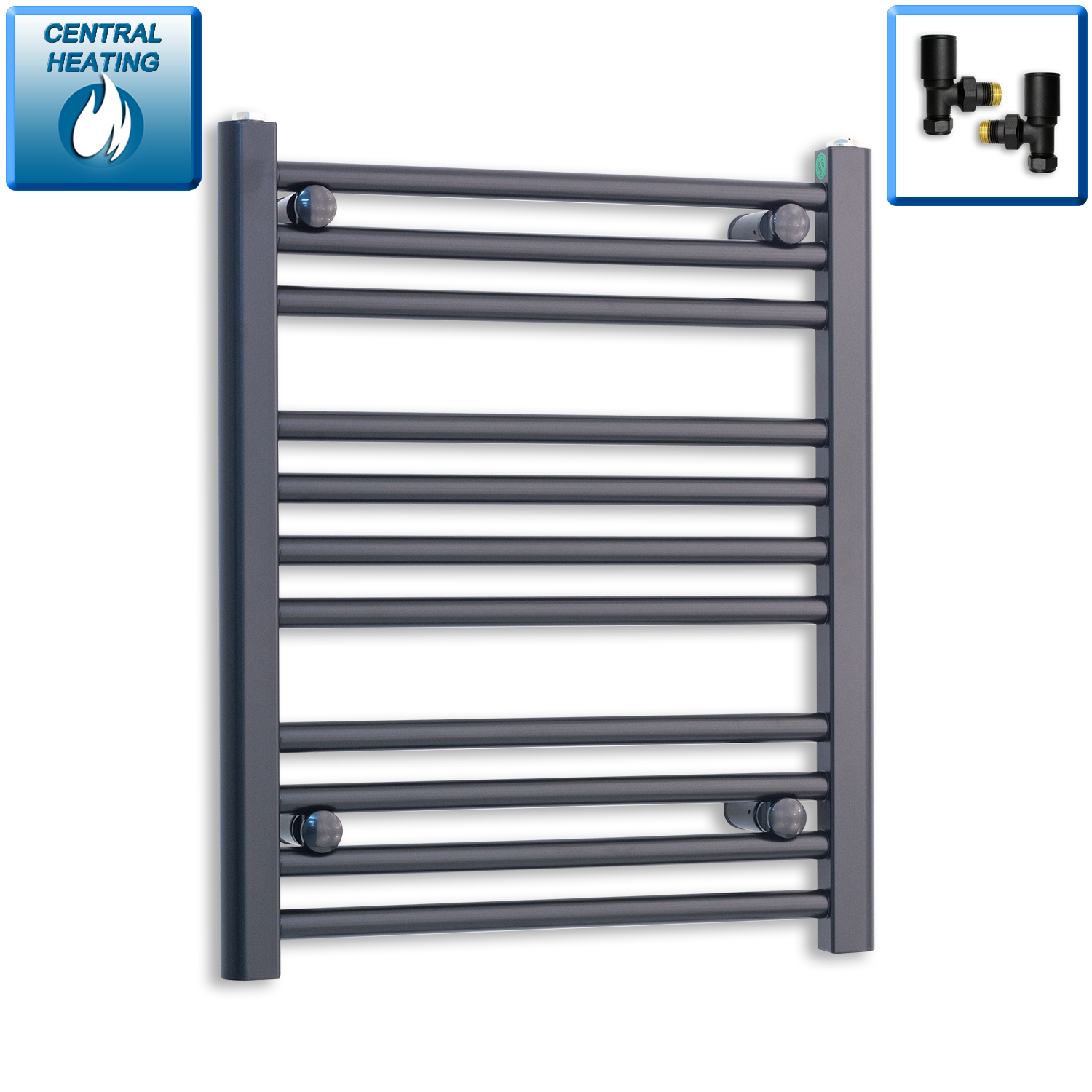 500mm Wide 600mm High Flat Black Heated Towel Rail Radiator HTR,With Angled Valve