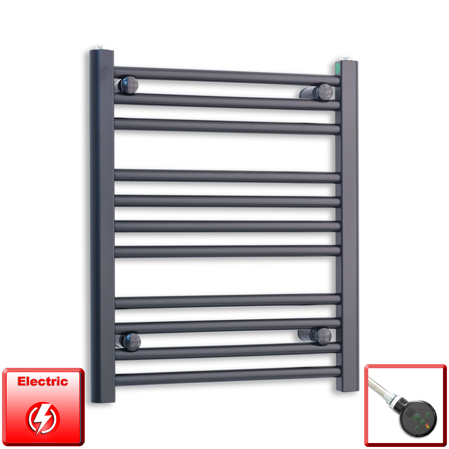 500mm Wide 600mm High Flat Black Pre-Filled Electric Heated Towel Rail Radiator HTR,DIGI Thermostatic