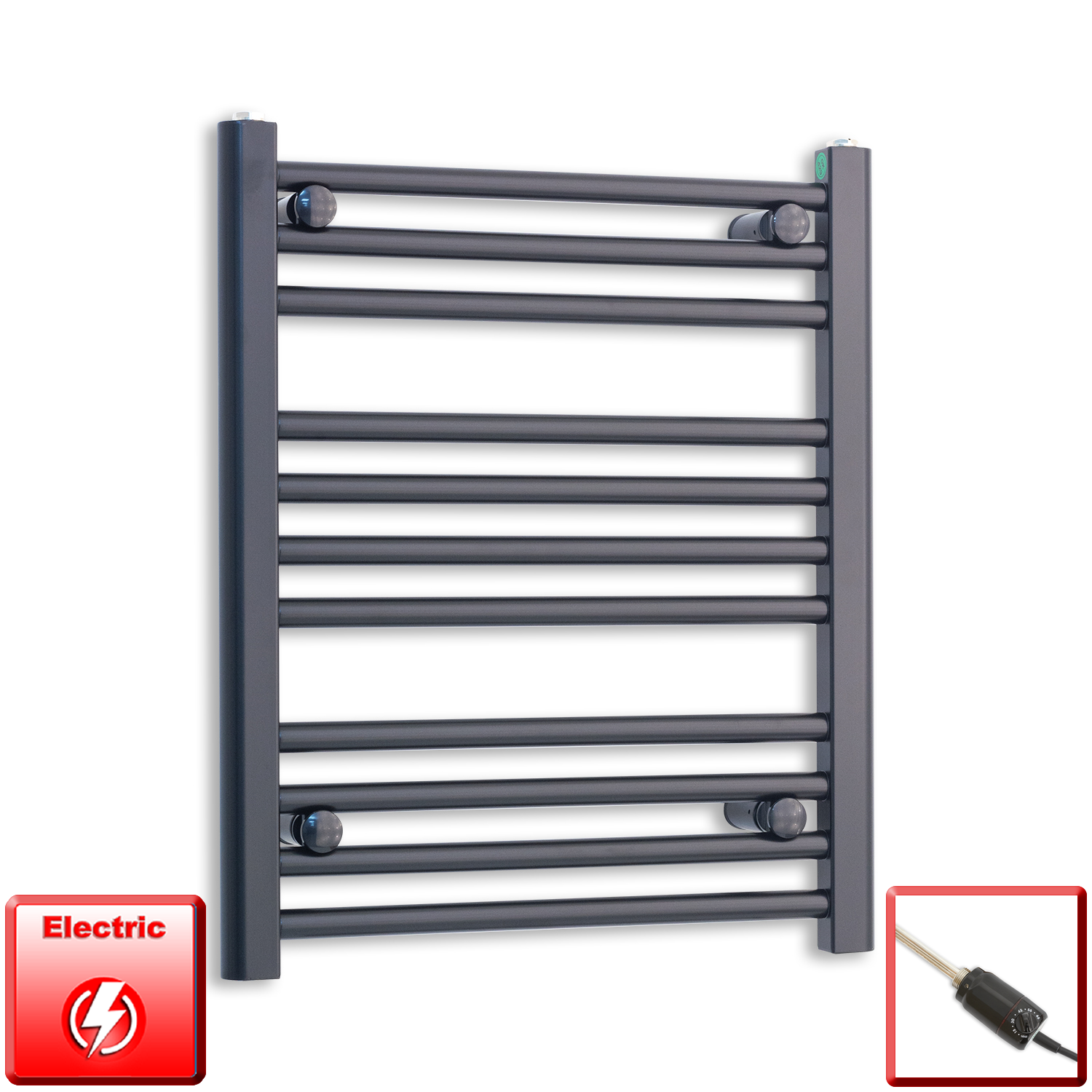 500mm Wide 600mm High Flat Black Pre-Filled Electric Heated Towel Rail Radiator HTR,GT Thermostatic