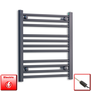 600mm Wide 600mm High Flat Black Pre-Filled Electric Heated Towel Rail Radiator HTR,GT Thermostatic
