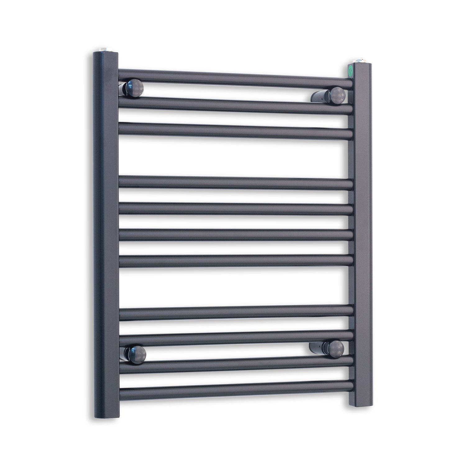 600mm Wide 600mm High Flat Black Heated Towel Rail Radiator,Towel Rail Only