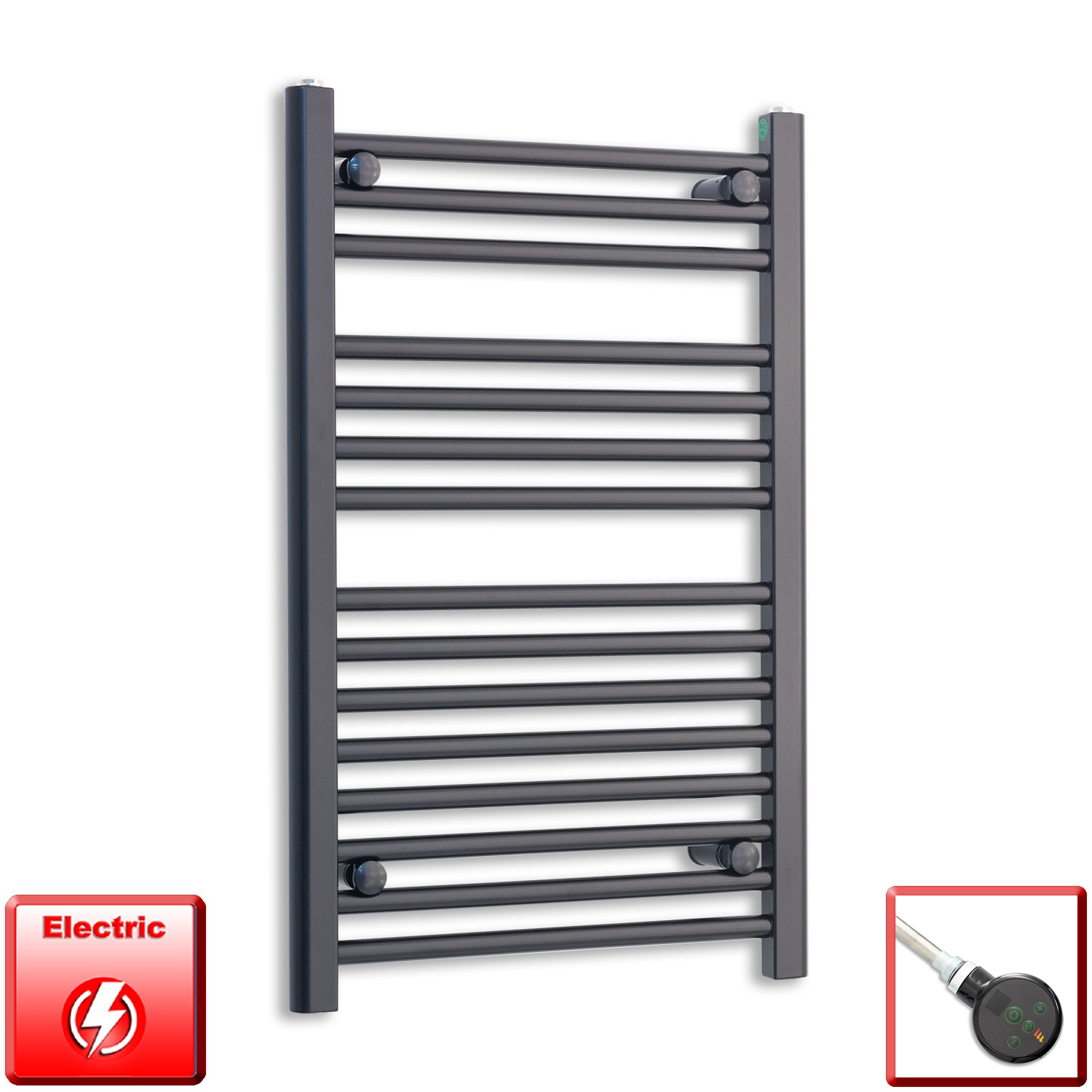 450mm Wide 800mm High Flat Black Pre-Filled Electric Heated Towel Rail Radiator HTR,DIGI Thermostatic