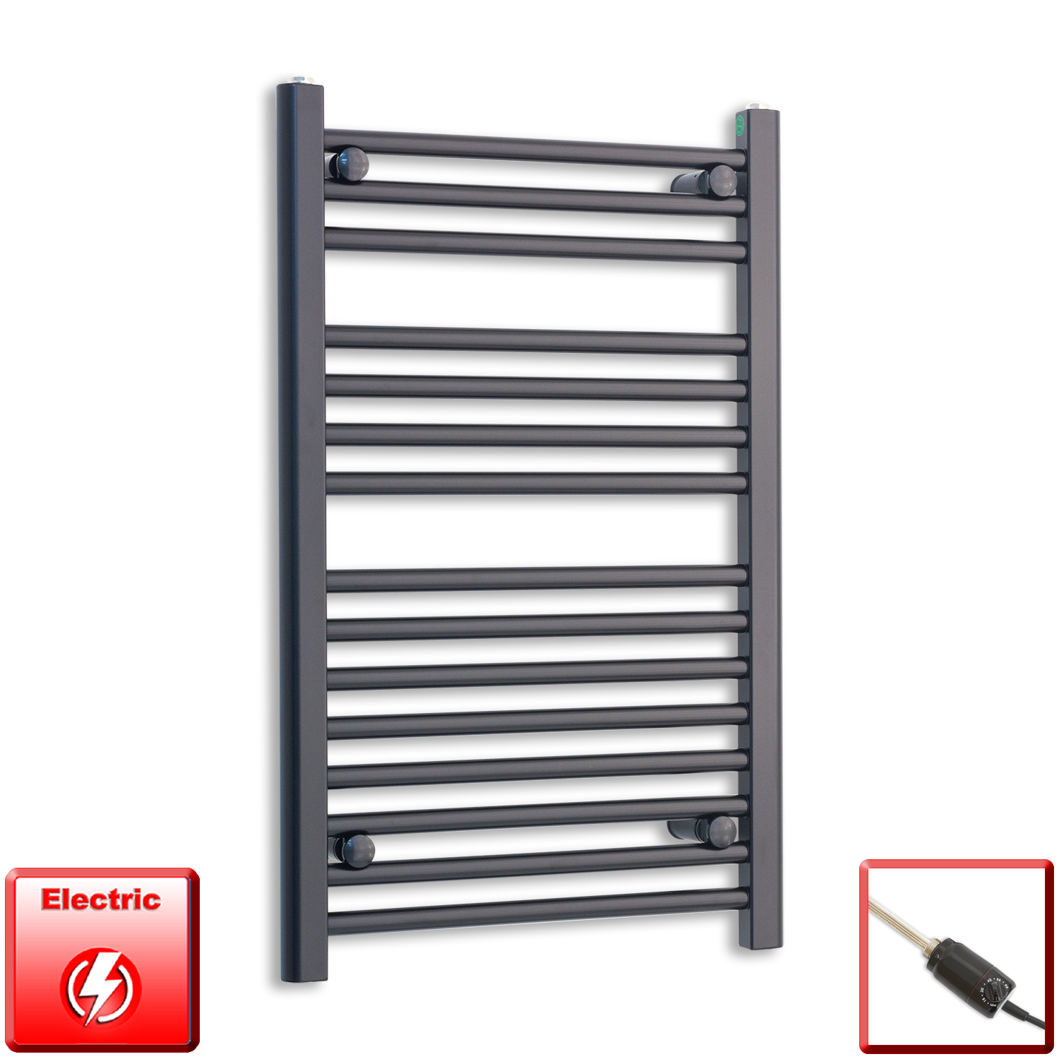 600mm Wide 800mm High Flat Black Pre-Filled Electric Heated Towel Rail Radiator HTR,GT Thermostatic