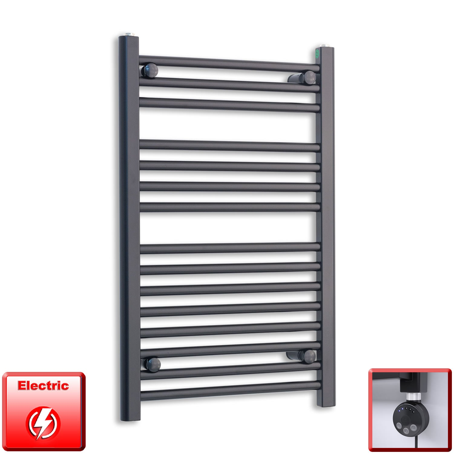 600mm Wide 800mm High Flat Black Pre-Filled Electric Heated Towel Rail Radiator HTR,MEG Thermostatic Element
